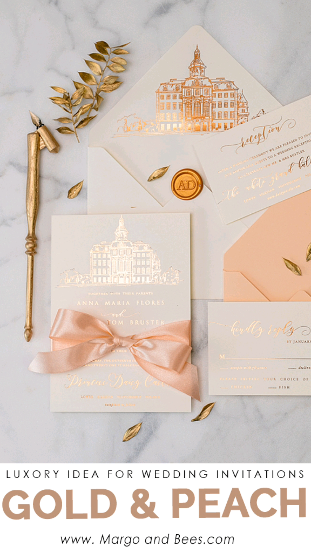Gold and peach wedding invitaitons with venue Modern idea for