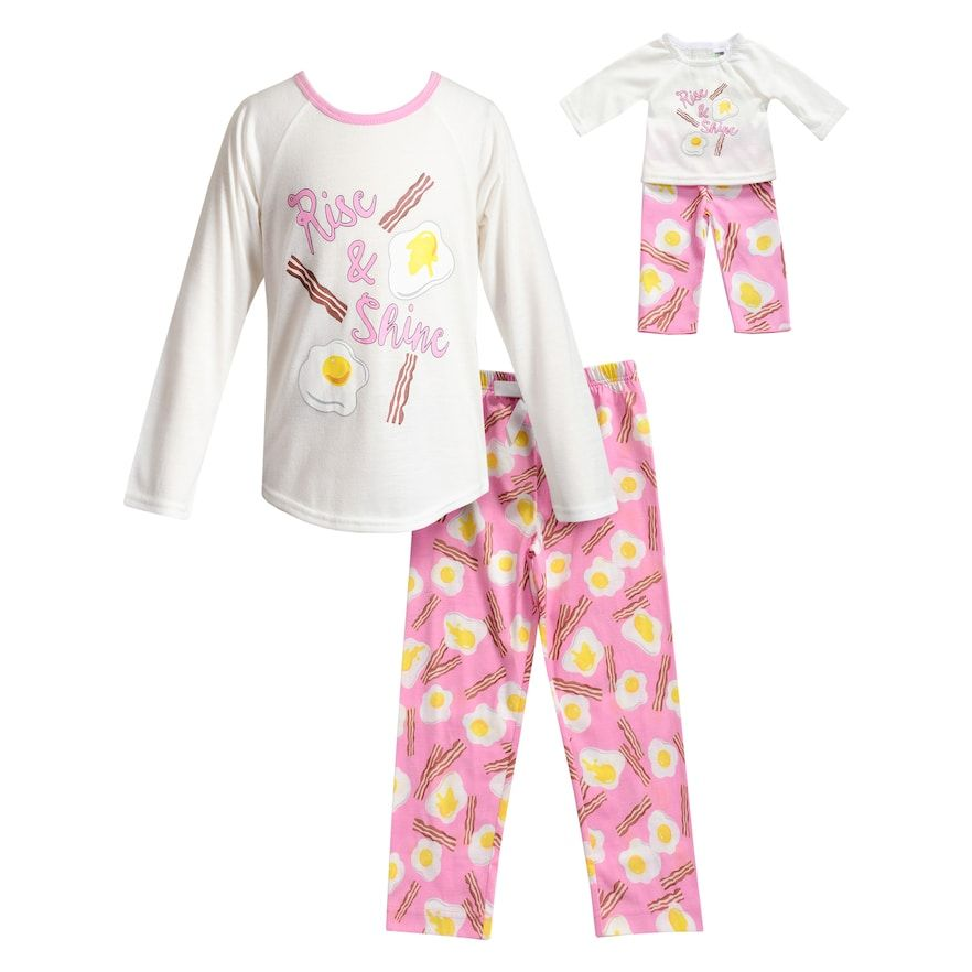 Dollie /& Me Girls Apparel Pink Printed Knit Match Doll Nightgown
