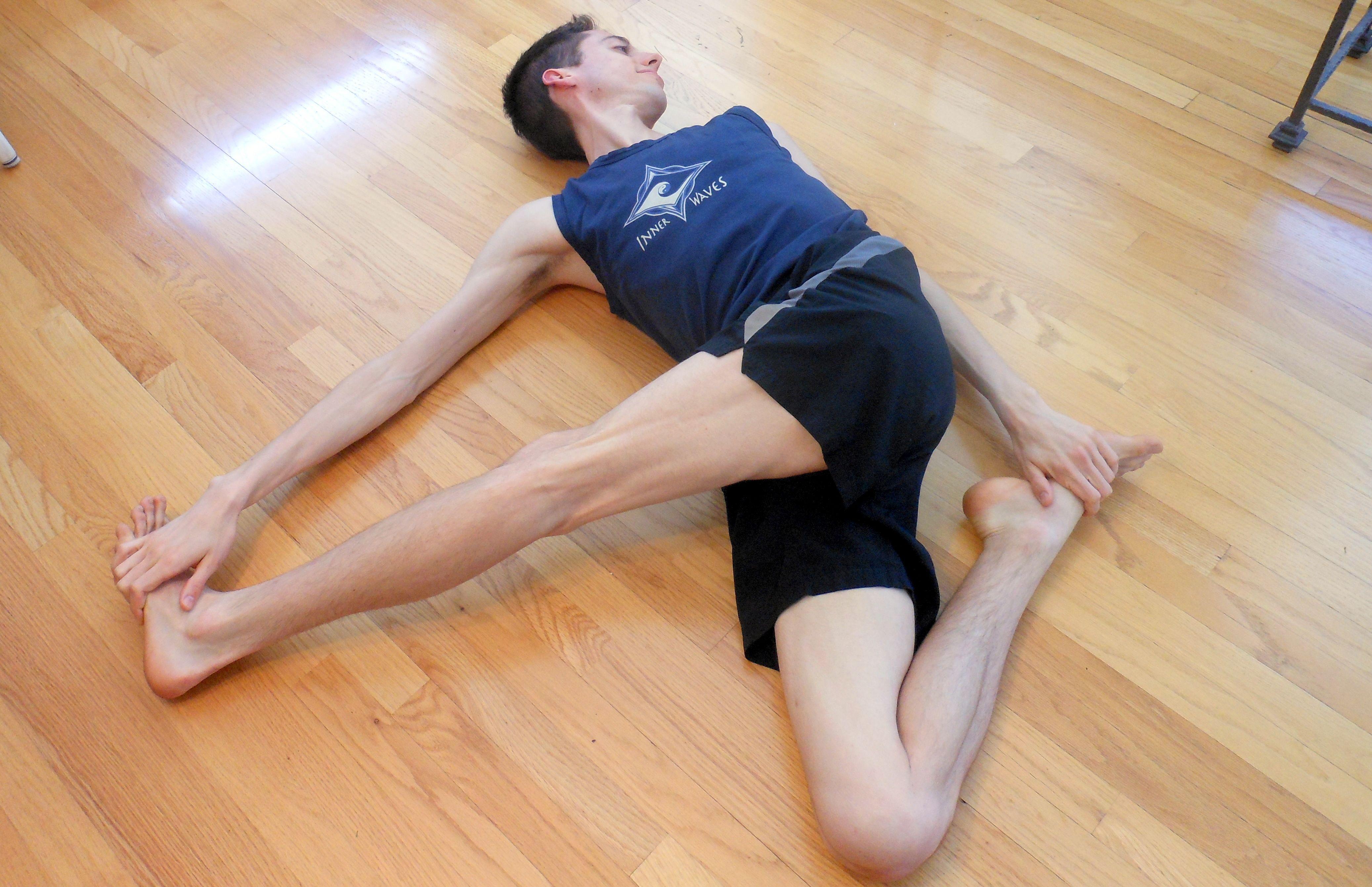 Favorite Yoga Poses ~ Cat pulling it tail. Yum   Twist yoga, Yoga ...