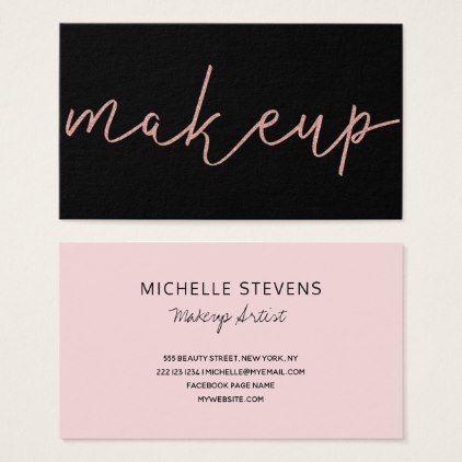 Rose gold glitter black makeup artist typography business card rose gold glitter black makeup artist typography business card makeup artist business cards and rose gold glitter reheart Images