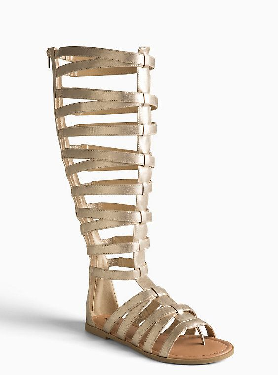 2c0cd5a70d22 Plus size tall knee gladiator sandals wide width wide calf gold jpg 564x761 Gold  gladiator sandals