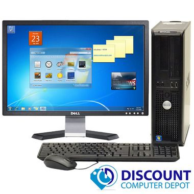 Dell Optiplex Desktop Computer Windows 10 Core 2 Duo 13ghz 4gb 160gb 19 Lcd Wifi