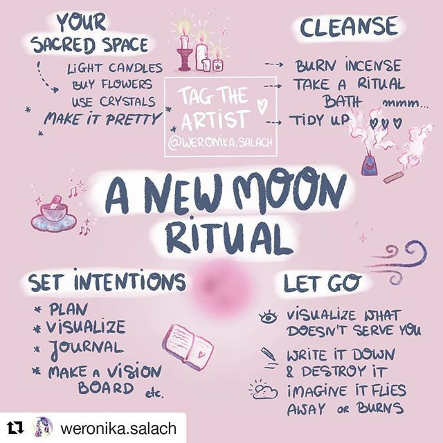 #Repost @weronika.salach (@get_repost)   Please read my REPOST rules under my bio  . Getting ready for the NEW MOON? Save this infographics for future reference!  . The New Moon time is often felt as a time when we can finally breathe when we can start anew plan new ventures set up our goals and intentions! RENEW. . Use this time to CLEANSE both your inner and outer space. You can tidy up your room/flat/desk take care of your plants change the decor smoke some sage or incense (first smoke then #newmoonritual