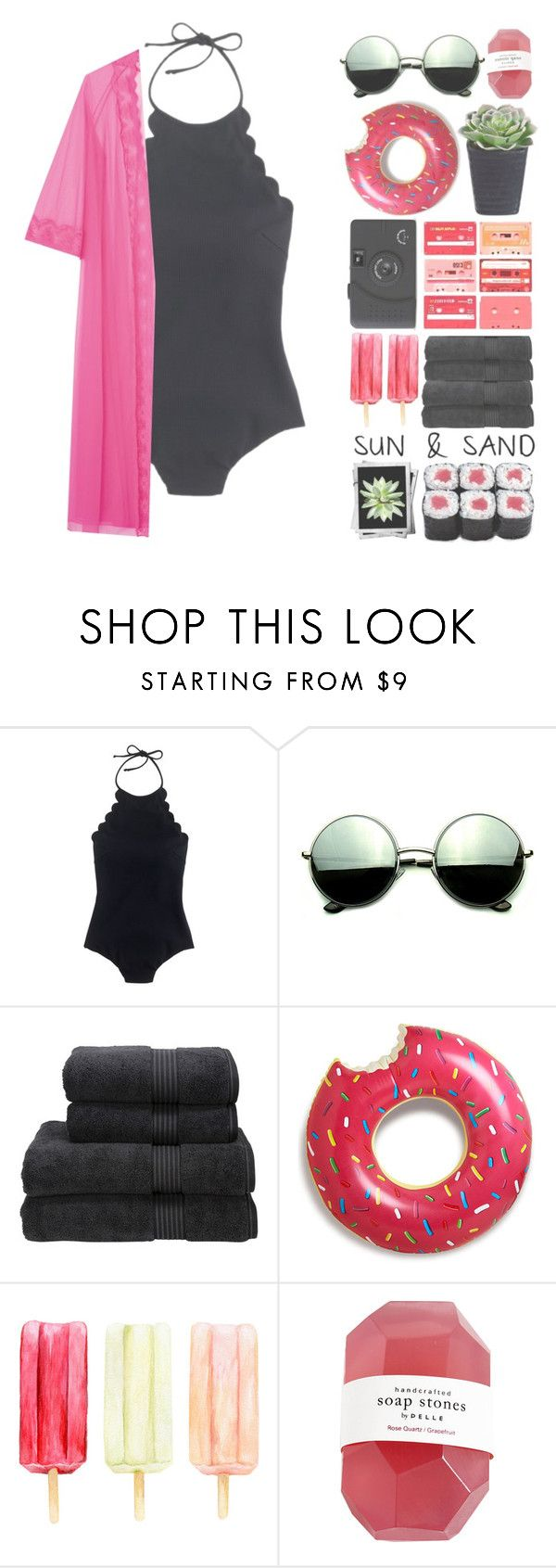 """""""Aloha- Møme"""" by paintingiraffe ❤ liked on Polyvore featuring J.Crew, Revo, Christy, CO, tumblr, summerstyle, simpleset, aesthetic and summerbrights"""