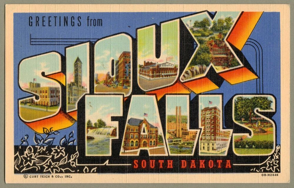 Letter Greetings Inspiration Large Letter Linen Greetings From Sioux Falls S.dcurt Teich 1940 .