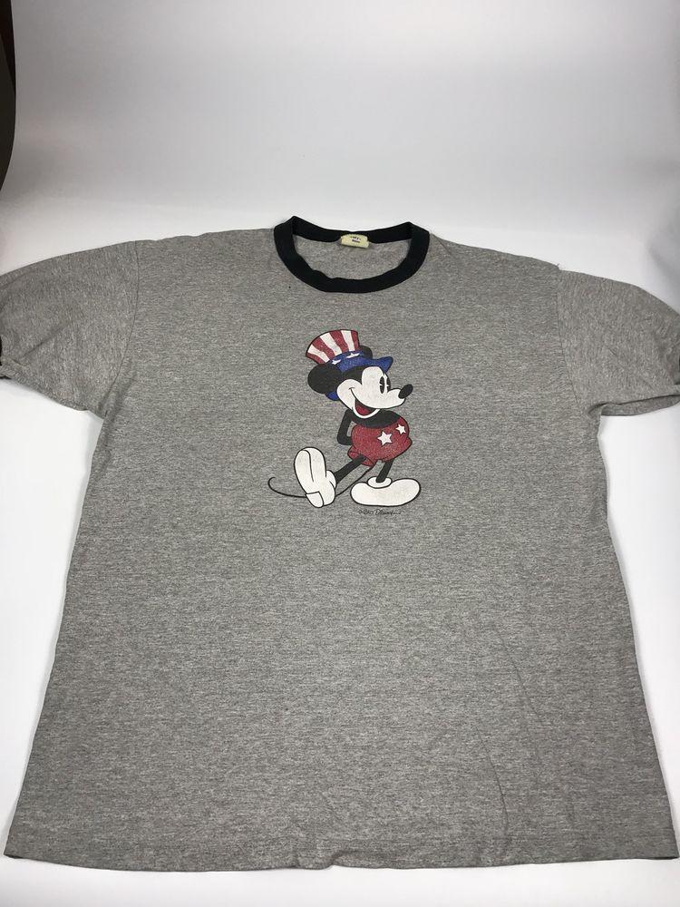 394774b7 Walt Disney Mickey Mouse Vintage America USA 4th of July Gray T-Shirt XL