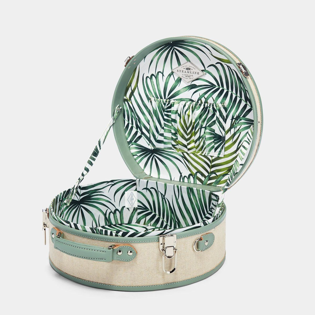 The Editor Hatbox Large In Seagreen Hat Box Luggage Interior Front Hat Boxes Large Hatbox Sea Green