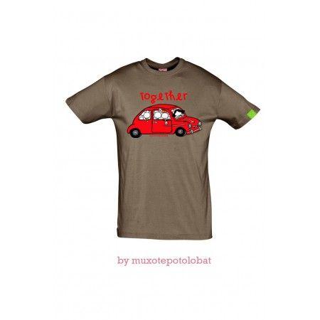 "Camiseta Chico Marron ""together"""