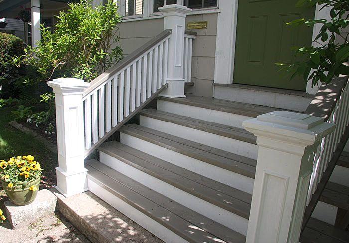 Front Steps Railings And Newel Posts Front Porch Steps Porch | Outside Porch Step Railings | Wrought Iron Railings | Stair Stringers | Vinyl Railing | Concrete Steps | Railing Ideas