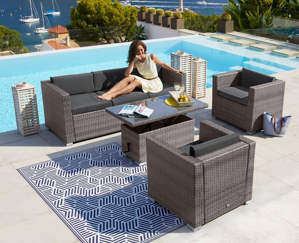 Merxx Loungeset Bari Deluxe 14 Tlg 2 Sessel 3er Sofa Tisch Polyrattan Online Kaufen 3er Sofa Tisch Hohenverstellbar Sofa