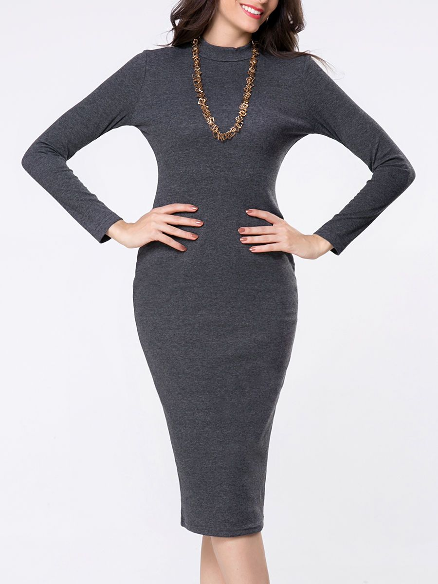 High neck plain long sleeve bodycon dress only usd more info
