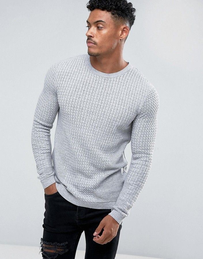 f757d12d ASOS Muscle Fit Lightweight Cable Sweater In Gray #ad #menswear  #menssweater #gray #winterwear
