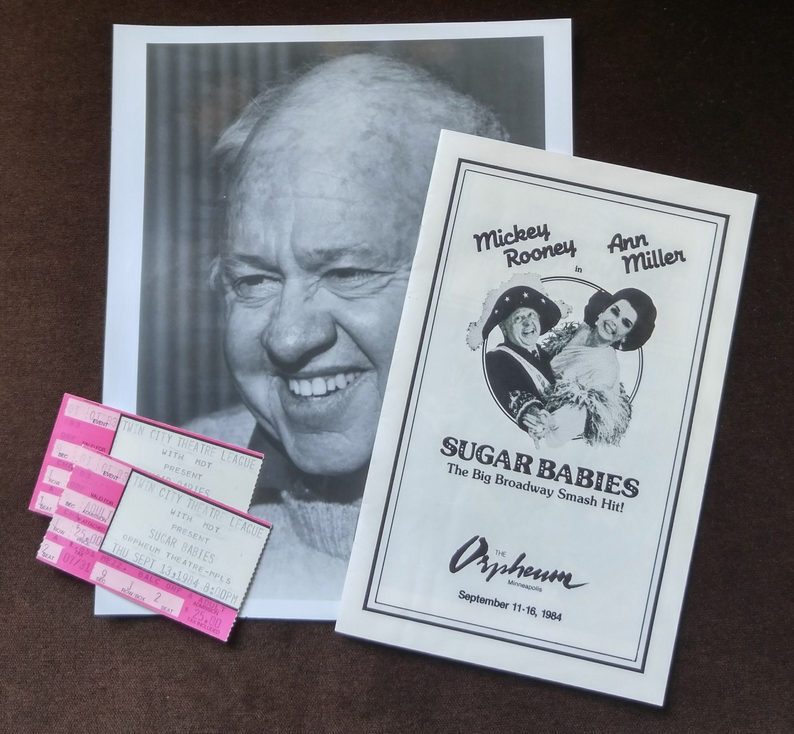 Sugar Babies Memorabilia From the Orpheum Theatre in Minneapolis, Minnesota | Publicity Photo of Mickey Rooney, Program and Ticket Stubs #babymemorabilia