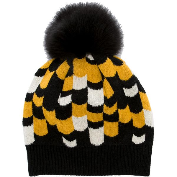 Pre-owned Prada Fur-Accented Pom-Pom Beanie ( 225) ❤ liked on Polyvore  featuring accessories 66259695546