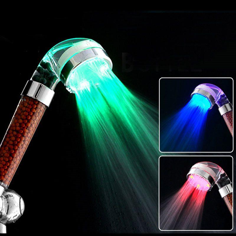 Shower Head Water Saving Bathroom Handheld Multi Color LED Bright Light