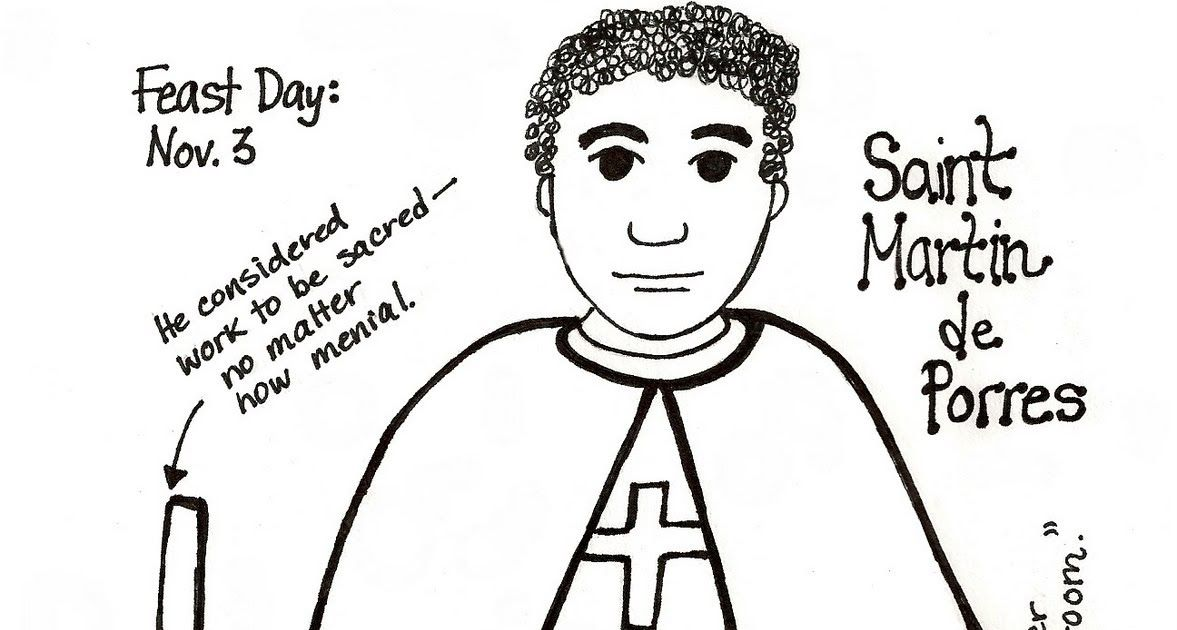 download a black and white coloring pagepaper doll of saint martin de porres