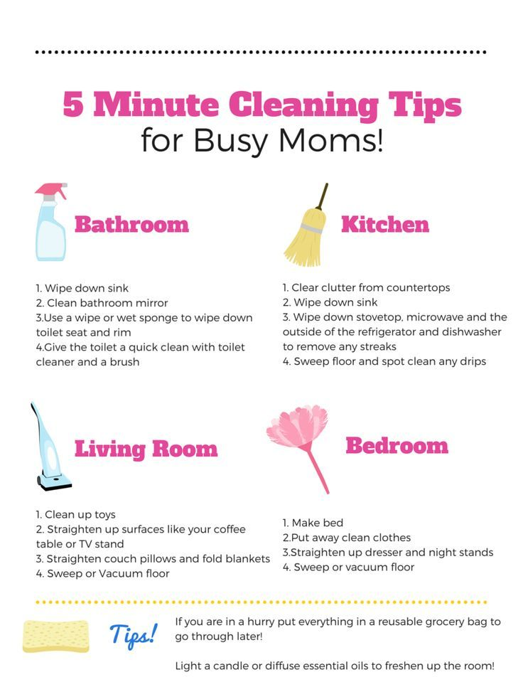5 Minute Cleaning Tips --Print out this FREE Printable with 5 - sample spring cleaning checklist