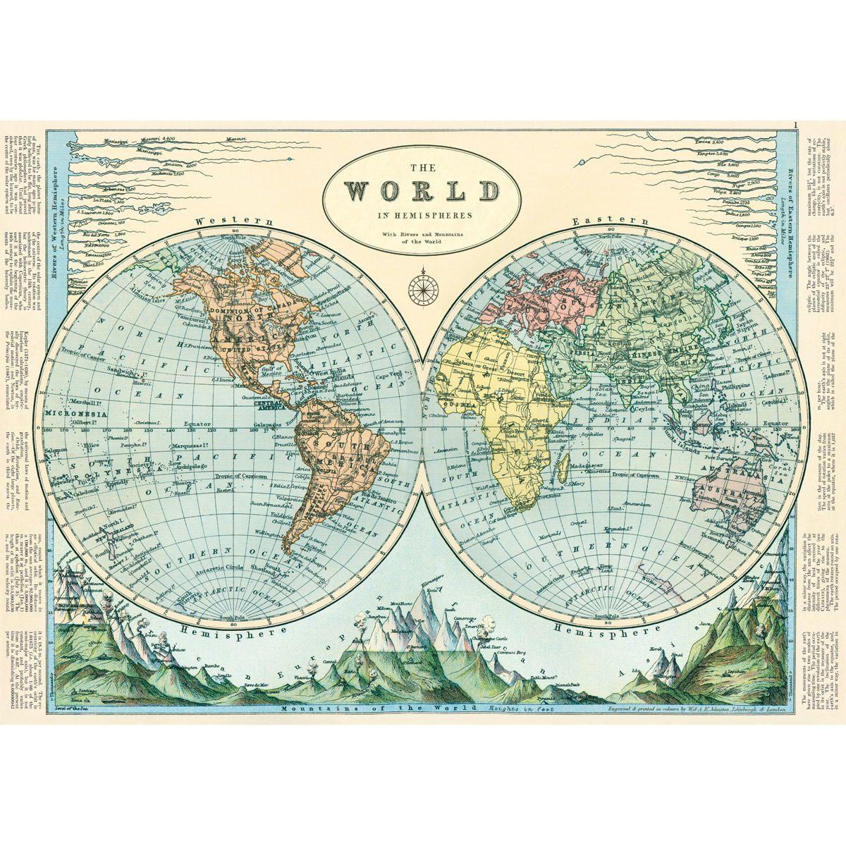 Hemispheres World Map Vintage Style Poster Vintage štýl Vintage - World map poster vintage style