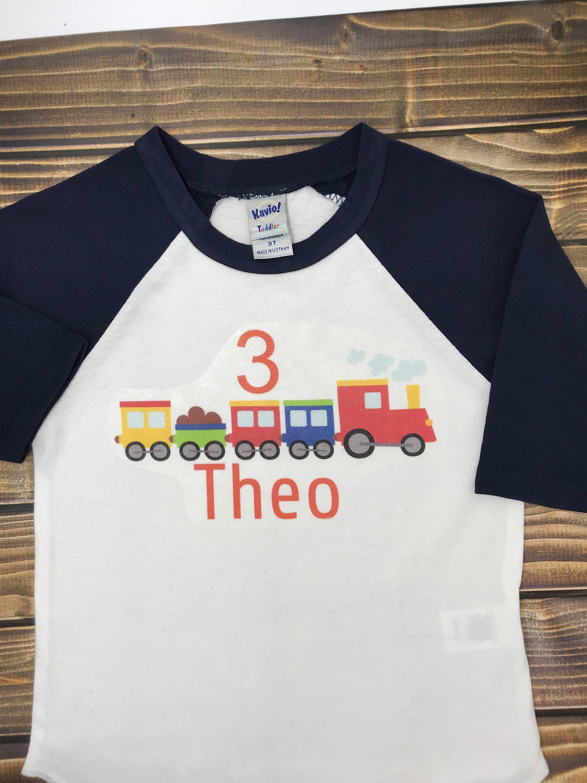 Toddler Boy//Girl Train Four Birthday tshirt 4th Birthday Shirt Train Raglan