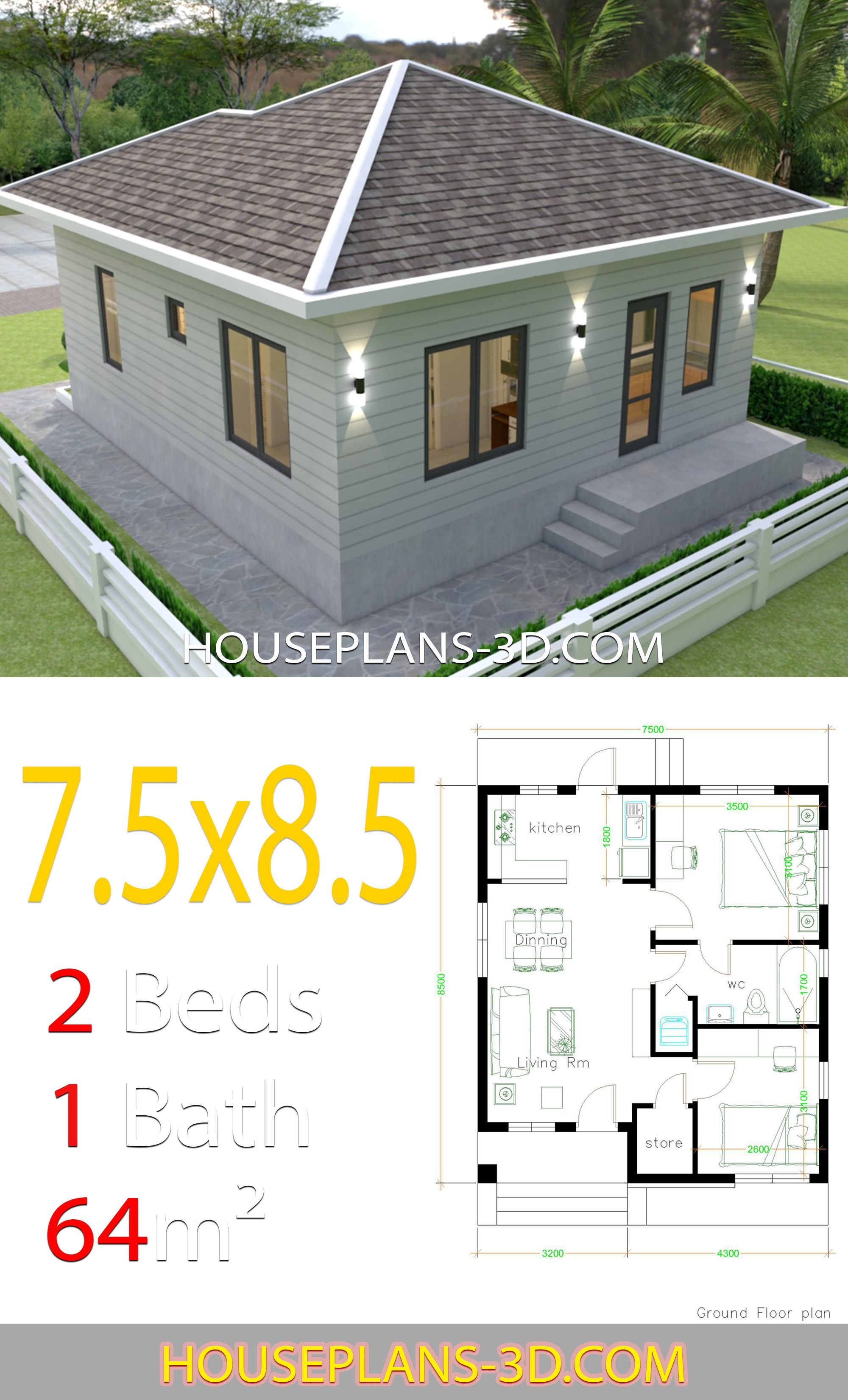 House Design 7 5x8 5 With 2 Bedrooms House Plans Simple House Design 2 Bedroom House Plans