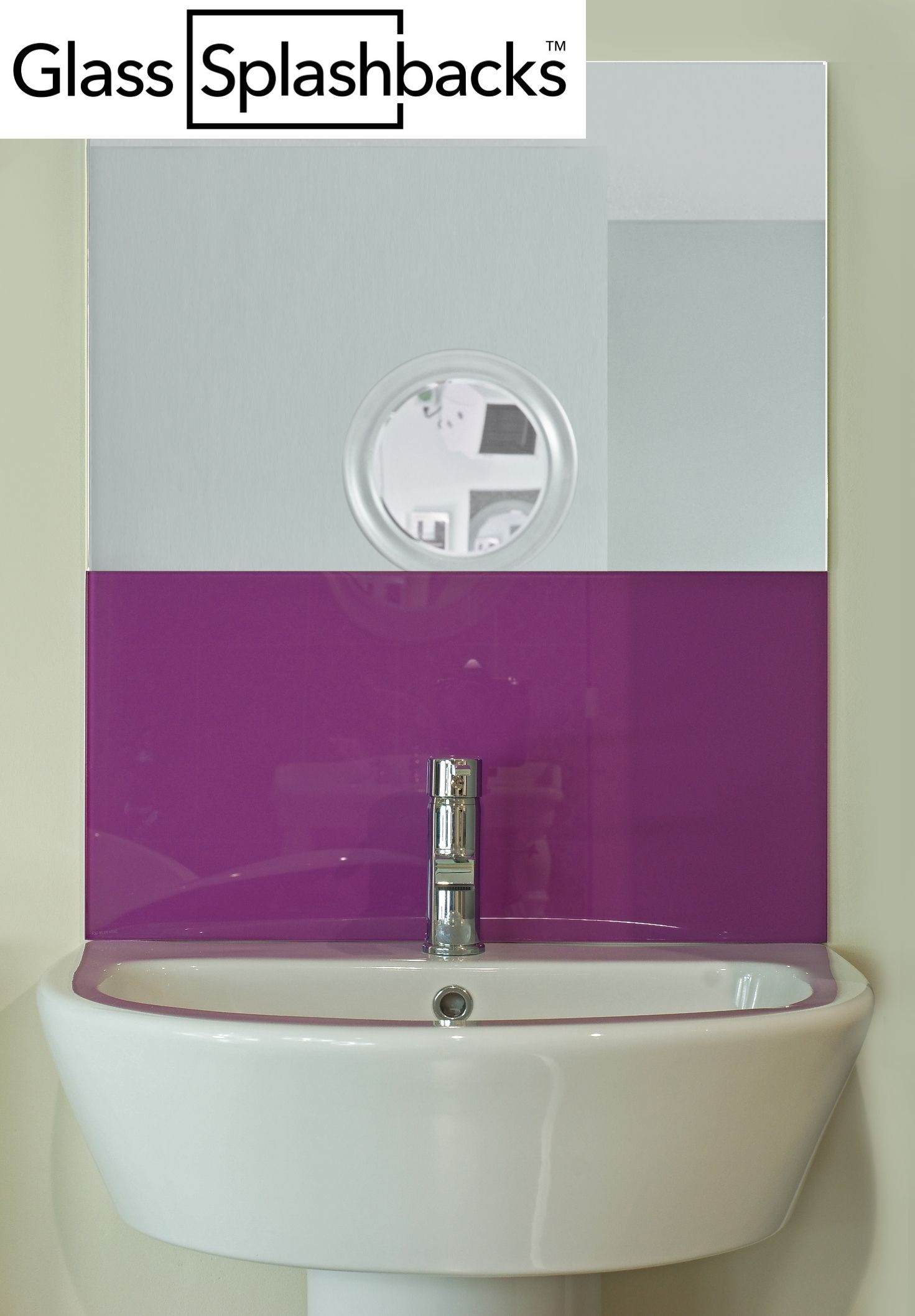 Bathroom sink splashback ideas - Purple Glass Sink Splashback By Glasssplashbacks Com Shop Our Range Of Standard Sized Sink Splashbacks