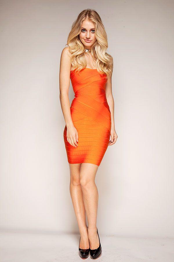 Clothing : Bandage Dresses : 'Leyla' Orange Strapless Bandage ...