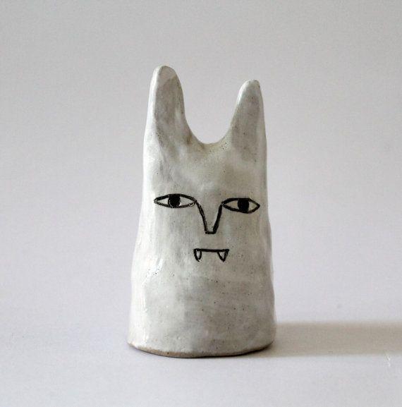 Vampire White Cat - Ceramic Little Sculpture