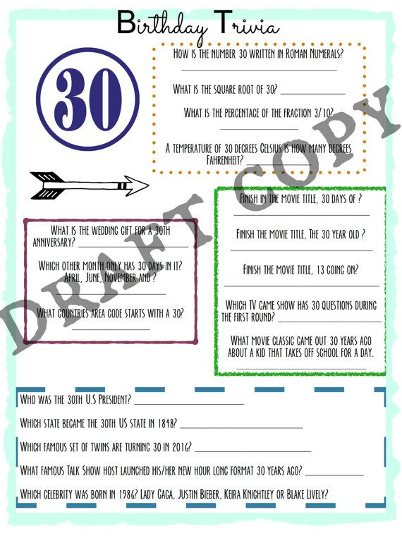 Great Birthday Party Game For A 30th All About The Number 30 We Can Customize 21st 40th 50th 60th 70th 80th Or Whatever