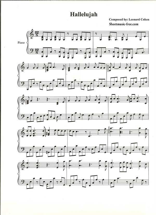 Hallelujah Piano Sheet Music Leonard Cohen Piano Sheet Music Free ...