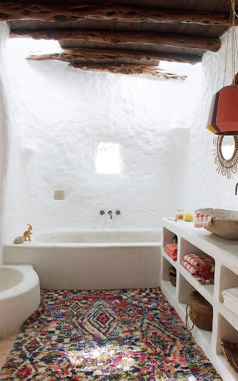 The Main Bathroom Features Spanish Obra Built In Cement Cabinets
