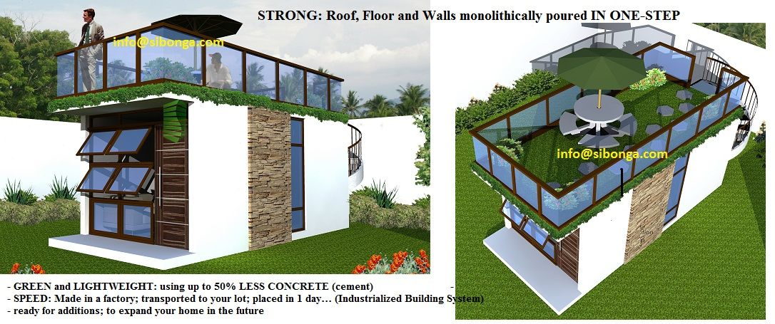 Waffle box building technology philippines less cost more for Small house design with roof deck