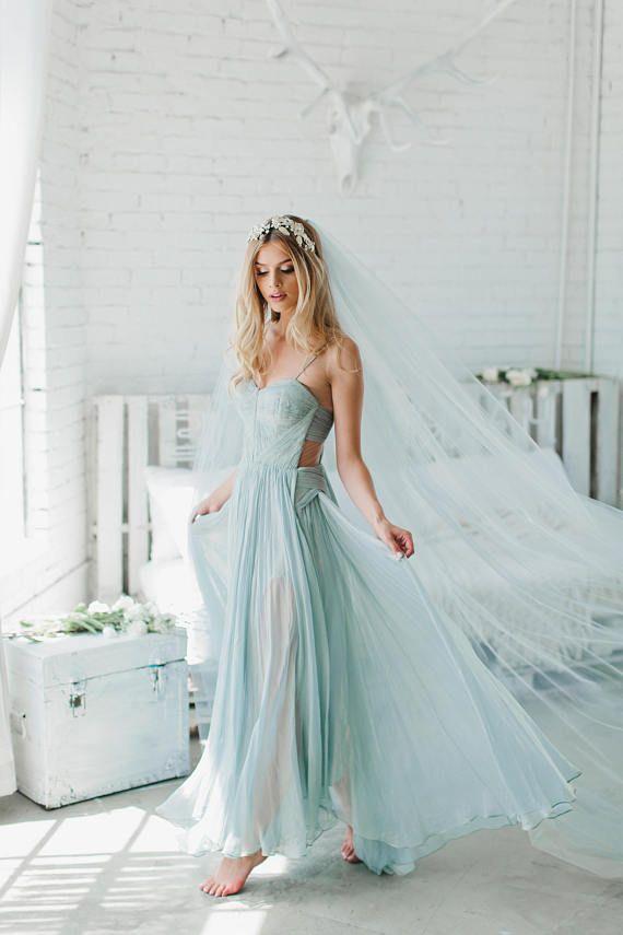 Blue Wedding Veil Bridal Cathedral Fingertip