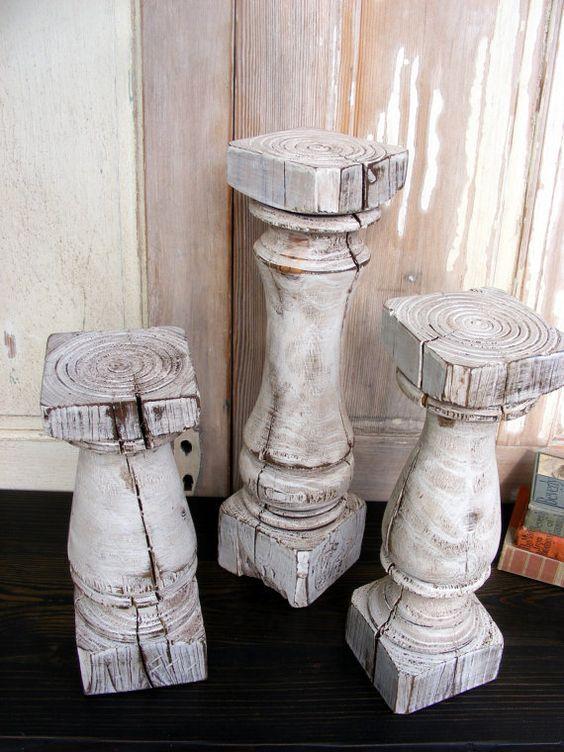 Photo of FREE SHIPPINGSuper Chunky Balustrade Candlesticks (set of 3) Handcrafted Shabby White