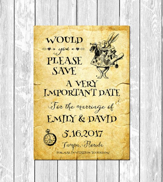 Alice In Wonderland Save The Date Printable Wedding Invitation Vintage Rustic Digital Files 5x7 Card