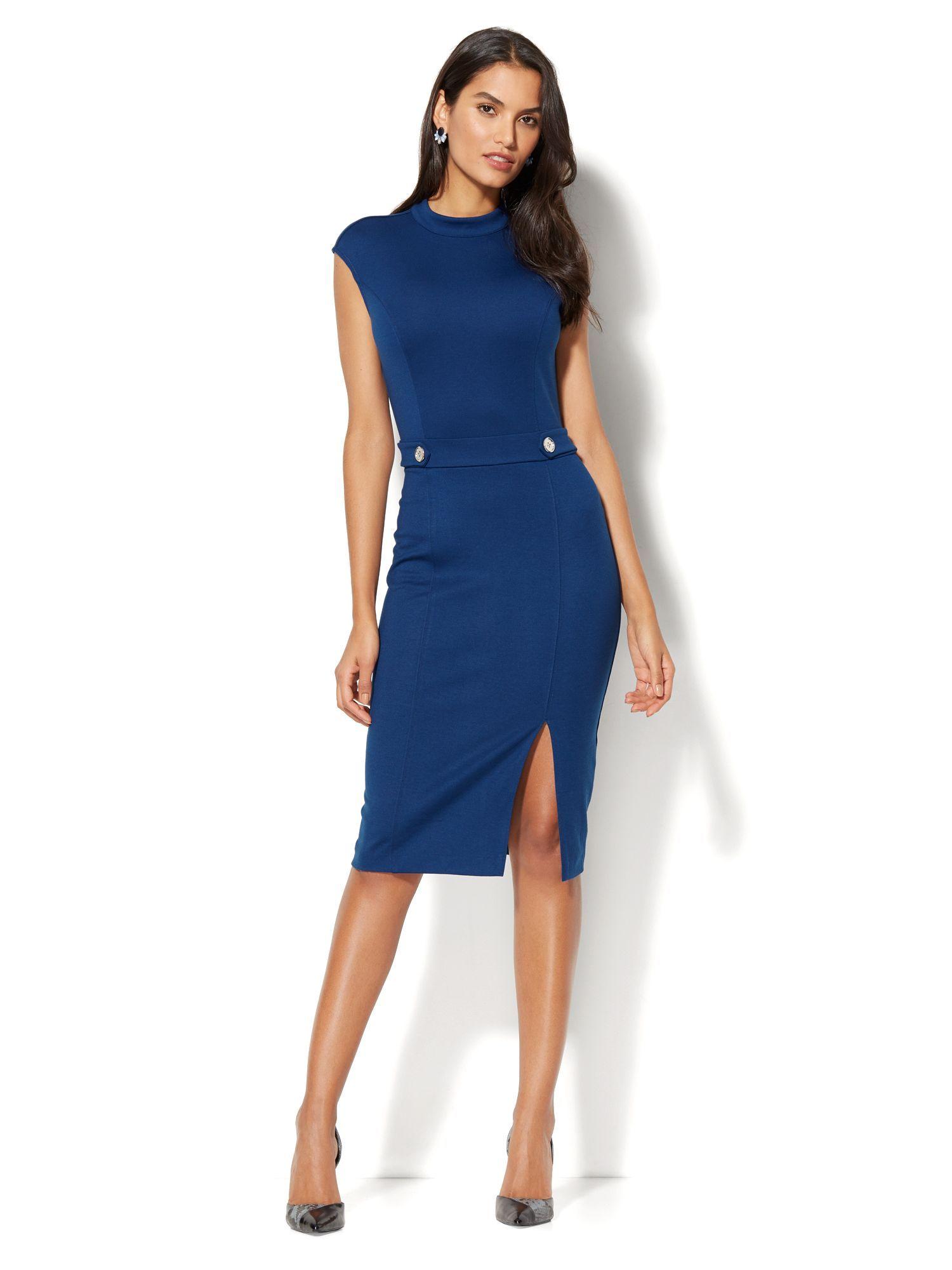 Nyandcompany Mock Neck Sheath Dress Ponte Aline Lima 06140764 704 Professional Dresses Business Dresses Dresses [ 2000 x 1500 Pixel ]