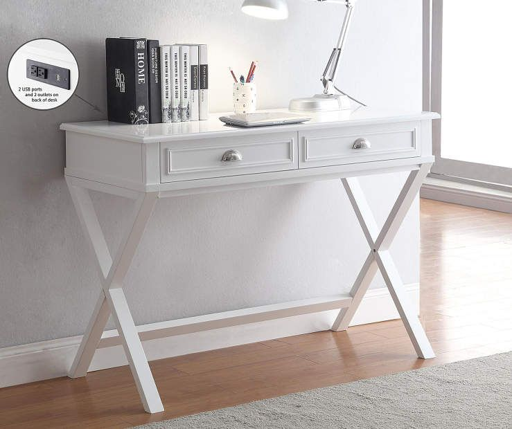 white 2drawer writing desk  white writing desk, writing