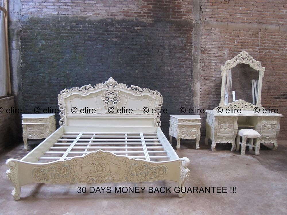 antique cream 6 piece bedroom set uk king size 5 french mahogany rococo bed chatelet traditional
