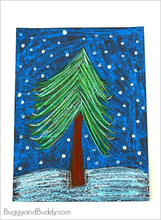 Oil Pastel Winter Tree Art Project For Kids Buggy And Buddy Christmas Art Projects Winter Art Lesson Winter Crafts
