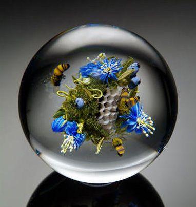 #glass #paperweight #honeybee #ken #Saunders