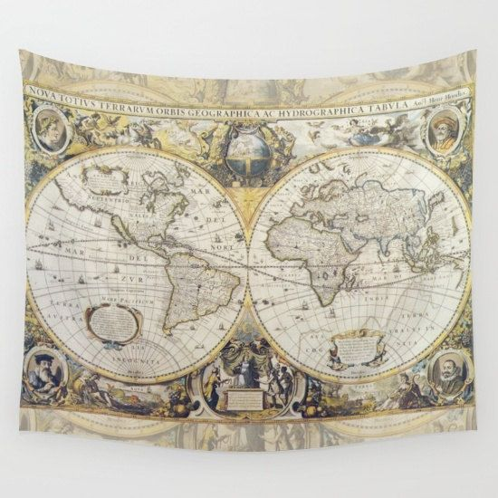 World Map Tapestry Wall Hanging world map tapestry wall hanging - antique map print, beautiful map