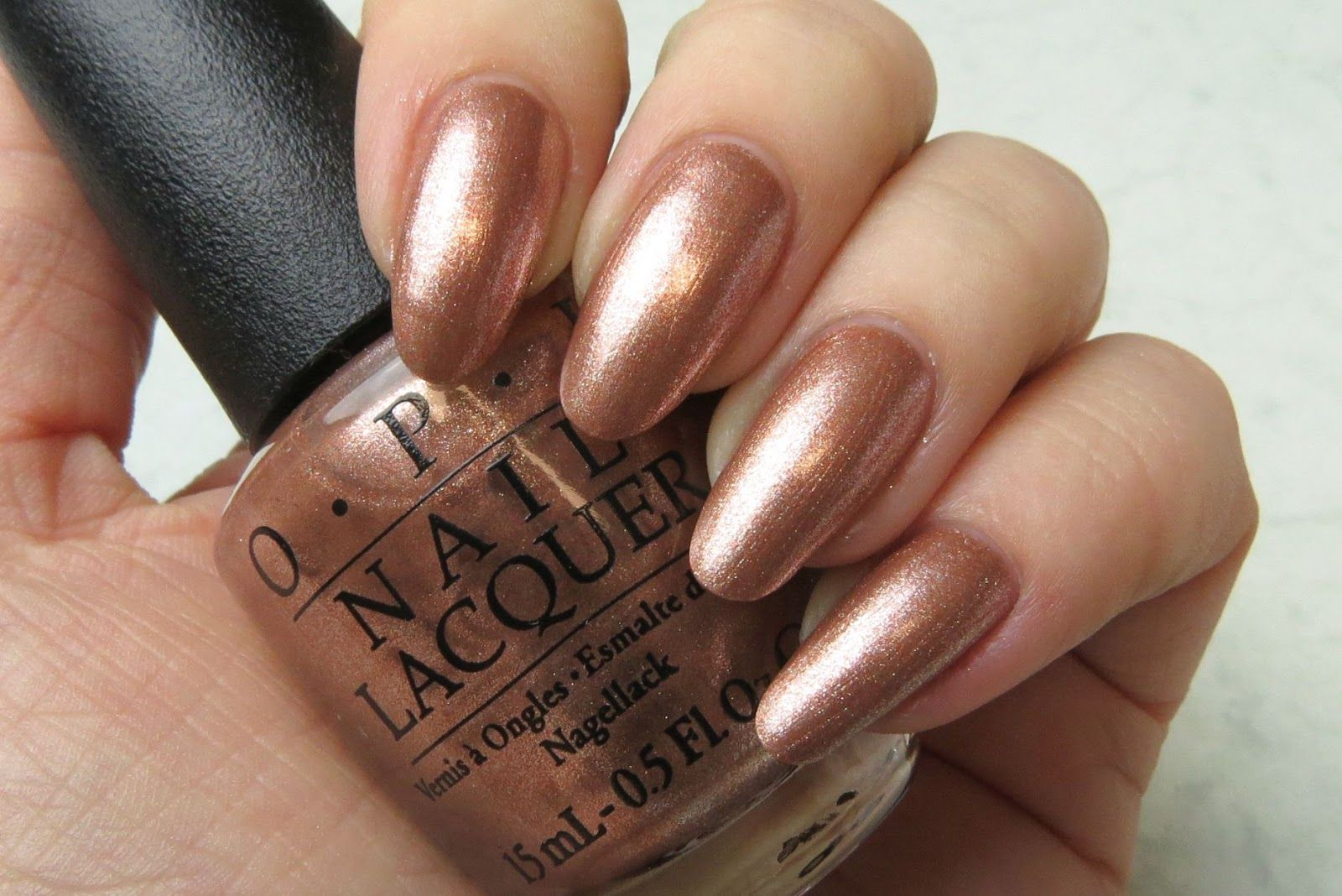 OPI Worth a Pretty Penne Review Swatch | metallic copper with a hint ...