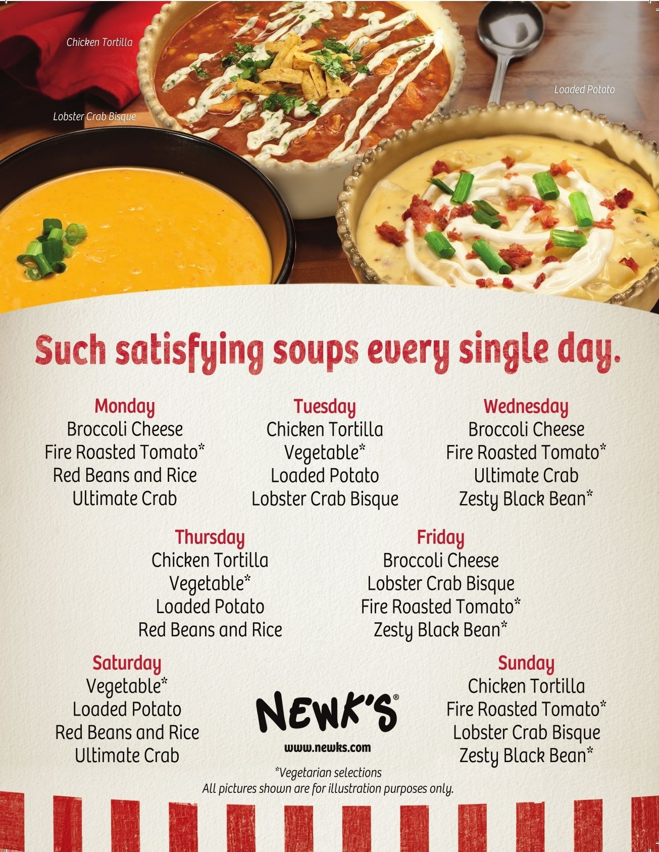 newks. new spring/summer soup schedule begins today! to pull you