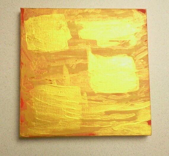 Abstrakte Bilder Auf Leinwand abstraktes bild rot gold gelb acryl auf leinwand 20 x 20cm