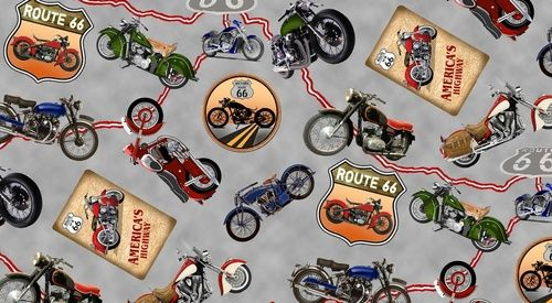 Blank Quilting - Fabric - Route 66 - Motorcycles