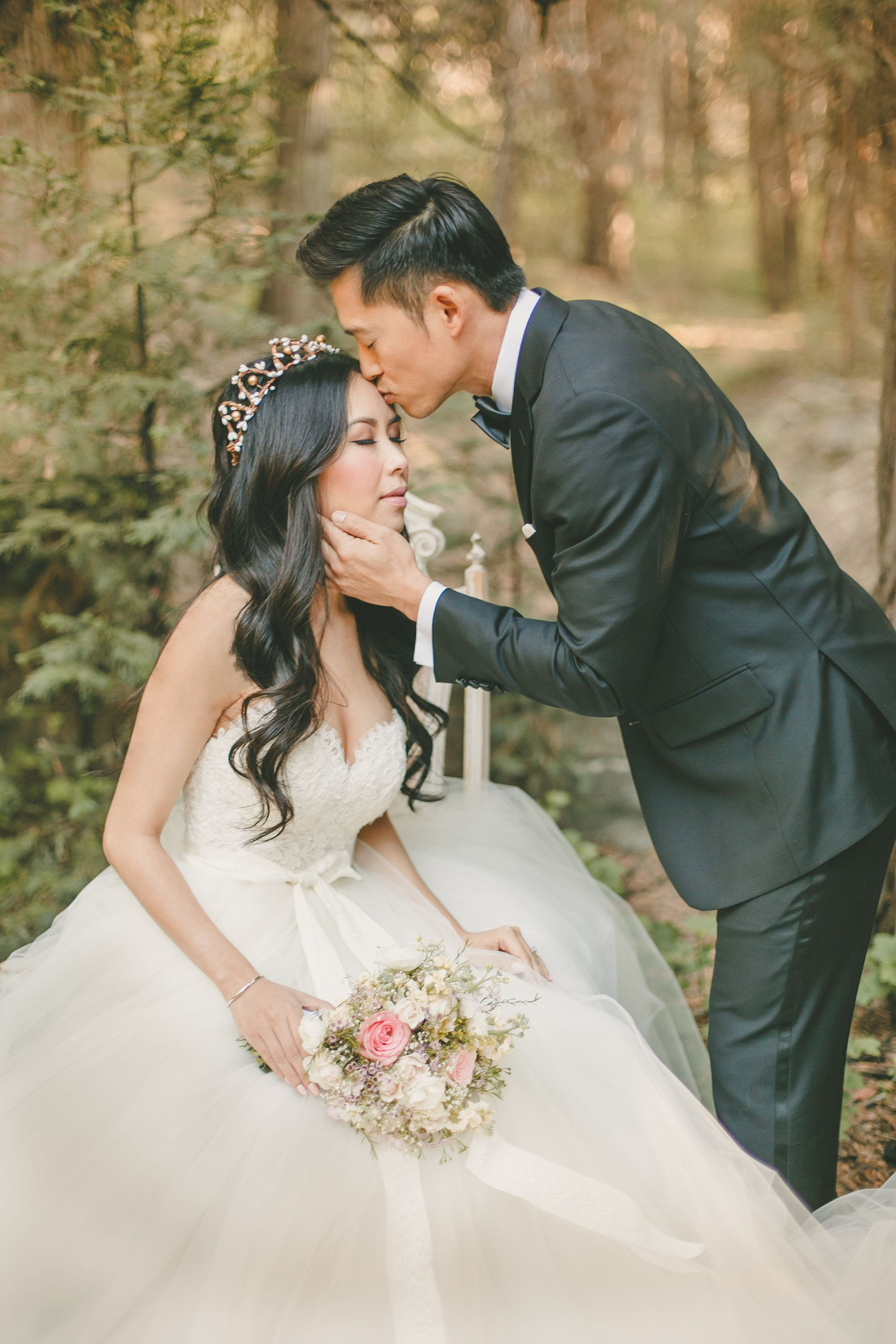 Woodland wedding dress  A woodland inspired bridal crown with white and gold berries for the