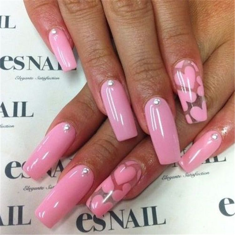 2019 Easy Tutorials Of Hot Valentines Nails Designs In 2020 With Images Nail Designs Valentines Valentine Nails Pink Valentine S Day Nail Designs
