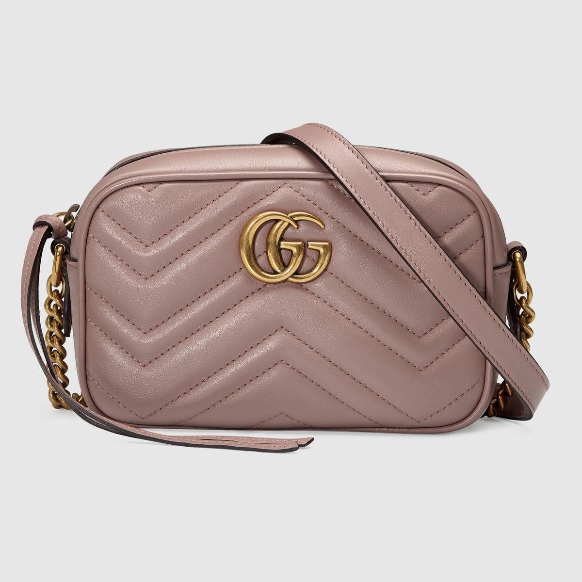 Gucci GG Marmont Matelasse Mini Camera Bag Nude