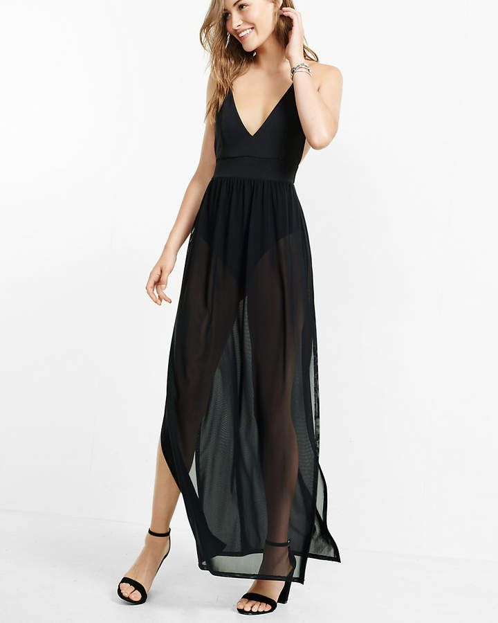04bf67d3661 Express Sheer Black Bodysuit Maxi Dress