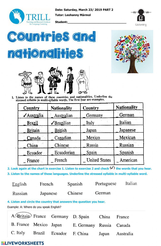 listening countries nationalities   Interactive worksheet ...