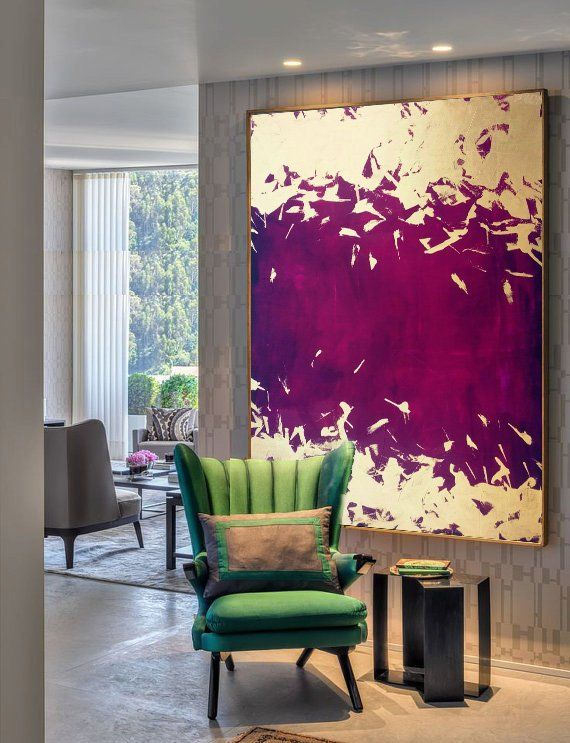 Photo of Gold leaf painting, large wall art, canvas painting, original art, canvas wall art, abstract canvas art, purple abstract, large painting